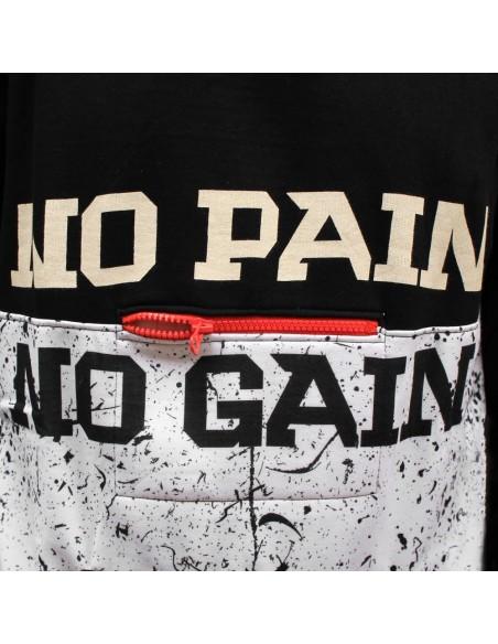 Sudadera hombre NO PAIN NO GAIN MINDSPRAY en algodón, color negro