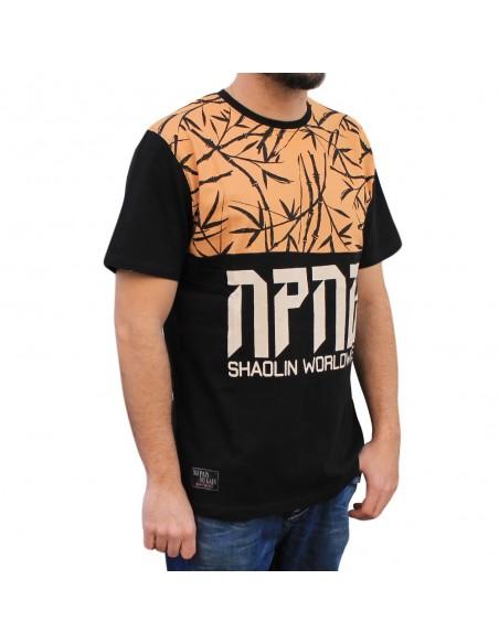 """Camiseta hombre NO PAIN NO GAIN  """"SHAOLIN"""" en algodón, color negro"""