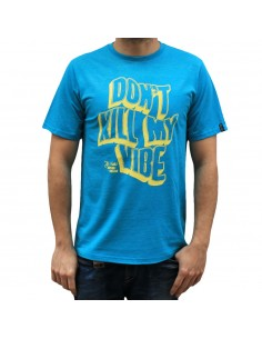 "Camiseta hombre NO PAIN NO GAIN  ""DON'T KILL MY VIBE"" en algodón, color acqua"