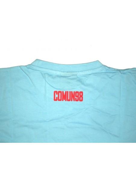 Camiseta COMUN98 logo CELESTE-ROJO