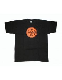 Camiseta COMUN98 logo NEGRA-NARANJA