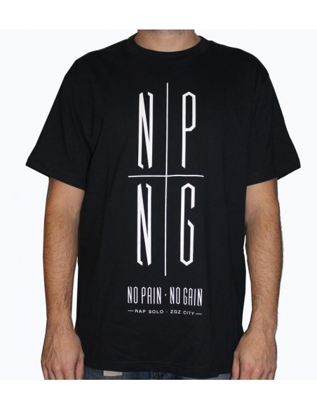Camiseta NO PAIN NO GAIN LOGO NPNG unisex, en algodón color negro