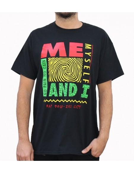 """Camiseta NO PAIN NO GAIN """"ME, MYSELF AND I"""" NEGRA"""