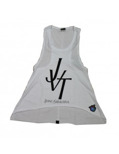 Camiseta chica  JAVATO JONES modelo JVT LIVING IS BEATIFUL en color BLANCO