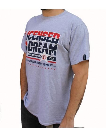 """Camiseta NO PAIN NO GAIN """"LICENSED2DREAM"""" GRIS"""