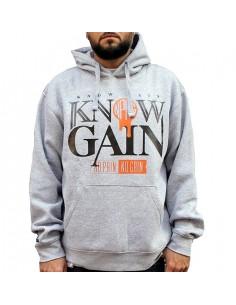 """Sudadera hombre NO PAIN NO GAIN """"KPKG HOODY"""" en algodón color gris"""