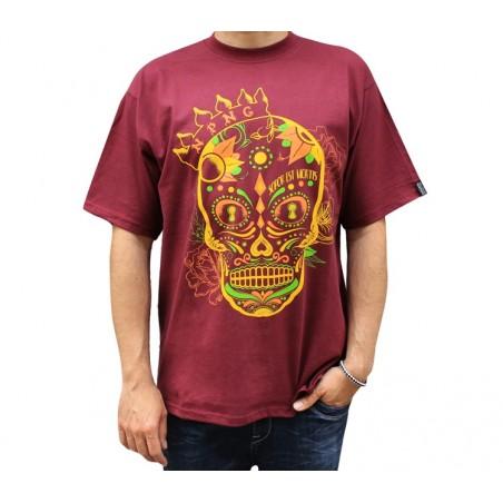 """Camiseta hombre NO PAIN NO GAIN """"SUGAR SOPOR"""" en algodón, color granate"""