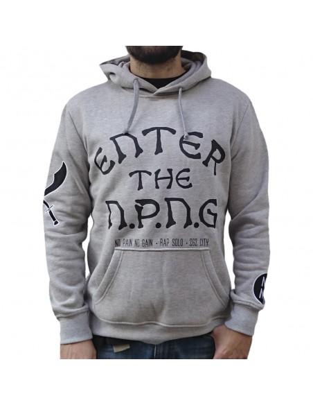 """Sudadera chico NO PAIN NO GAIN """"ENTER THE NPNG GREY"""" en algodón color gris"""