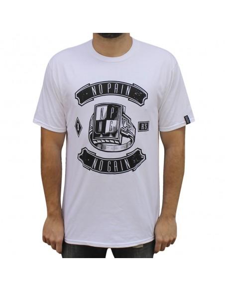"""Camiseta NO PAIN NO GAIN """"RING"""" unisex, en algodón color blanco"""