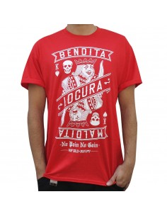 "Camiseta NO PAIN NO GAIN ""BENDITA LOCURA"" unisex, en algodón color rojo"