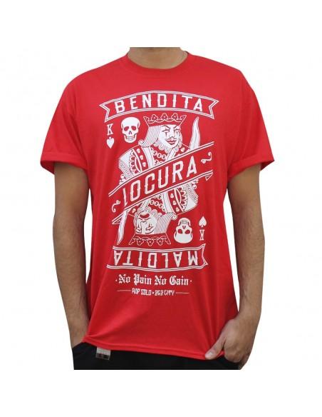 """Camiseta NO PAIN NO GAIN """"BENDITA LOCURA"""" unisex, en algodón color rojo"""