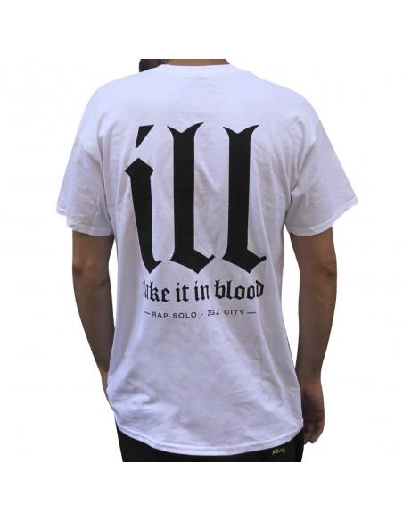"""Camiseta NO PAIN NO GAIN """"TAKE IT IN BLOOD"""" unisex, en algodón color blanco"""