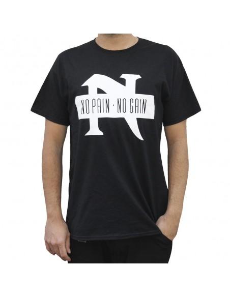 """Camiseta NO PAIN NO GAIN """"TAKE IT IN BLOOD"""" unisex, en algodón color negro"""
