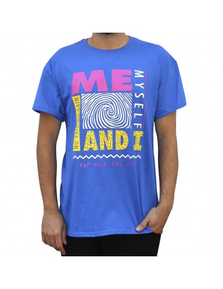 "Camiseta NO PAIN NO GAIN ""ME, MYSELF AND I"" unisex en algodón en color azul"