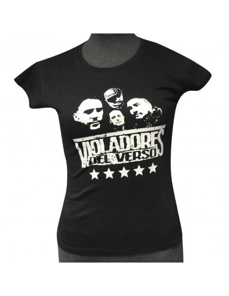 Camiseta Chica VIOLADORES DEL VERSO ESTRELLAS mujer, de algodón en color negro