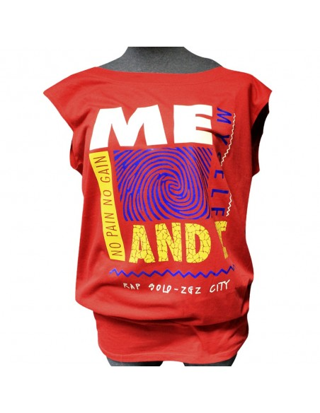 "Camiseta chica NO PAIN NO GAIN ""ME, MYSELF AND I""en algodón color rojo"