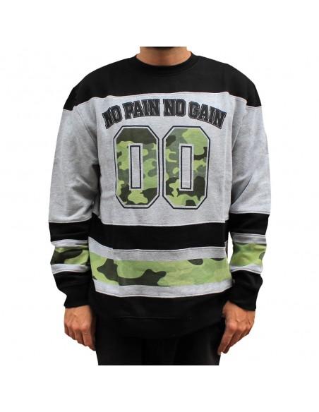 Sudadera hombre NO PAIN NO GAIN CAMO 00 en algodón, color gris
