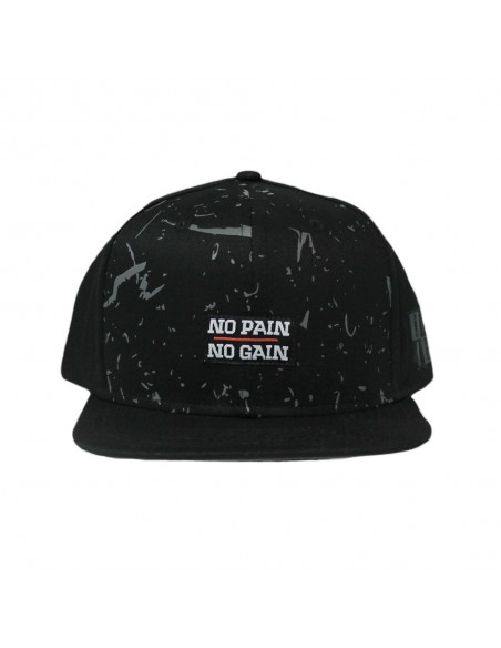 Gorra snapback NO PAIN NO GAIN MINDSPRAY unisex en algodón color negro