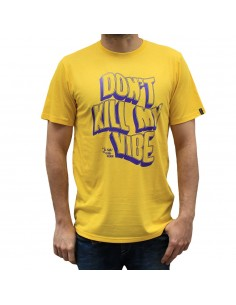 "Camiseta hombre NO PAIN NO GAIN  ""DON'T KILL MY VIBE"" en algodón, color amarillo"