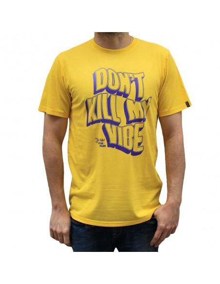 """Camiseta hombre NO PAIN NO GAIN  """"DON'T KILL MY VIBE"""" en algodón, color amarillo"""