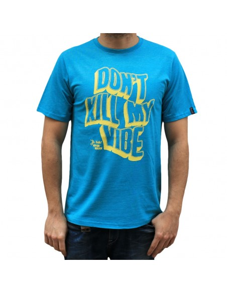 "Camiseta hombre NO PAIN NO GAIN  ""DON'T KILL MY VIBE"" en algodón, color acqua"