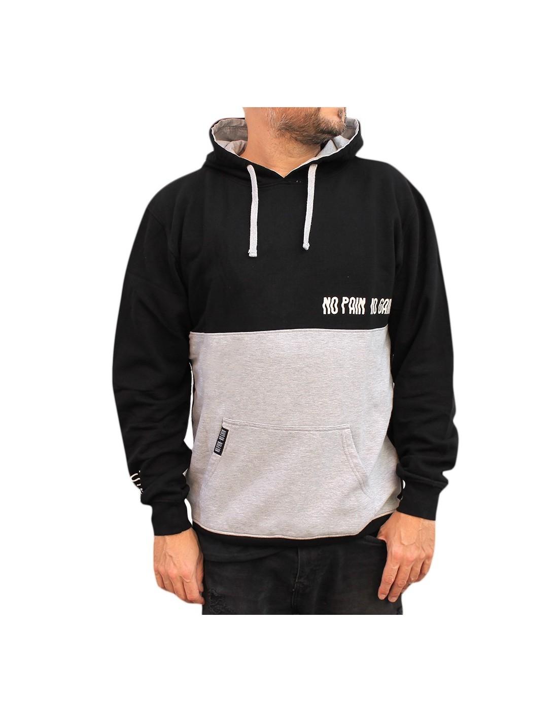 nueva colección 6be46 0f64d Sudadera hombre NO PAIN NO GAIN WINDS en algodón, color negro
