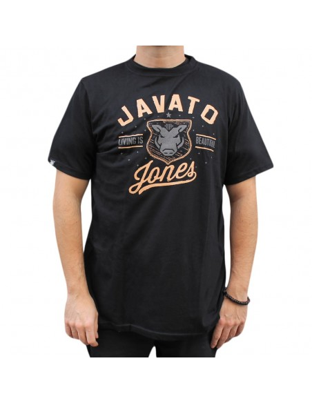 "Camiseta JAVATO JONES ""LIVING IS BEAUTIFUL"" NEGRA"