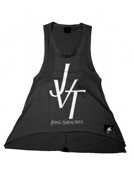 """Camiseta chica JAVATO JONES """"LIVING IS BEAUTIFUL"""" NEGRA"""
