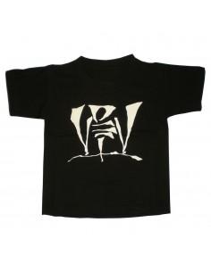 Camiseta niño VIOLADORES DEL VERSO LOGO unisex de algodón en color negro.