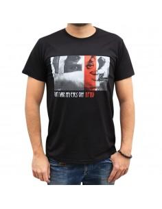 """Camiseta hombre NO PAIN NO GAIN  """"EYE OFF"""" en algodón, unisex, color negro"""