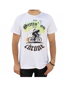 "Camiseta hombre NO PAIN NO GAIN ""SITTIN ON CHROME"" unisex en algodón de color BLANCO"