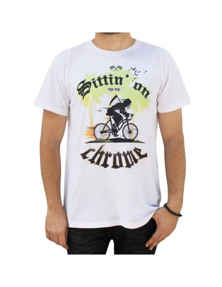"Camiseta hombre NO PAIN NO GAIN ""SITTIN ON CHROME"" unisex en algodón de color BLANCO"