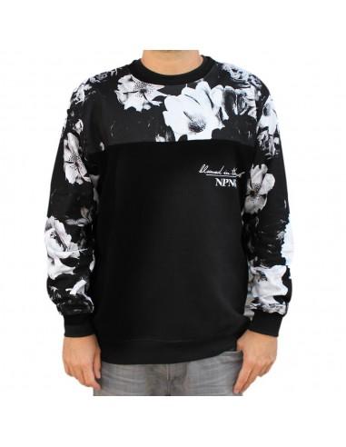 Sudadera hombre NO PAIN NO GAIN BLOOM en algodón, color negro