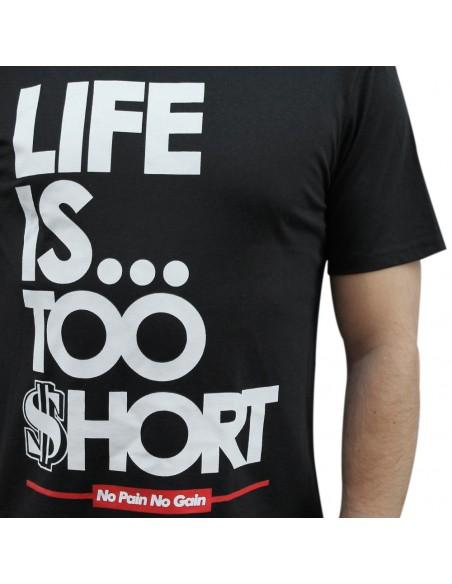 "Camiseta hombre NO PAIN NO GAIN ""LIFE IS TOO SHORT"" unisex en algodón de color NEGRO"
