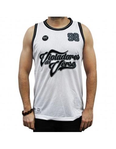 """Camiseta de tirantes VIOLADORES DEL VERSO """"HARDCORE"""" BLANCA unisex, de polyester en color blanco"""