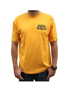Camiseta RAPSOLO LOGO BACK unisex, en algodón color amarillo