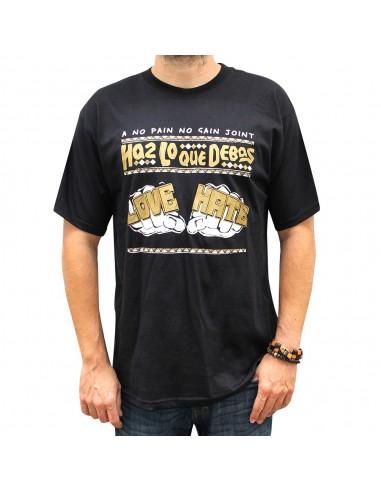 Camiseta hombre NO PAIN NO GAIN LOVE & HATE unisex en algodón de color NEGRO