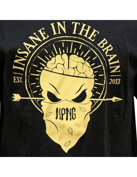 Camiseta hombre NO PAIN NO GAIN INSANE IN THE BRAIN unisex en algodón de color NEGRO