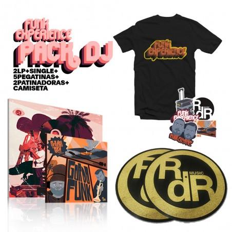 "PACK DJ: VINILO 2LP R DE RUMBA & PORCEL ""FUNK EXPERIENCE"" + SINGLE 7"" ""GORDO FUNK""  + 2 PATINADORAS + 5 PEGATINAS + CAMISETA"