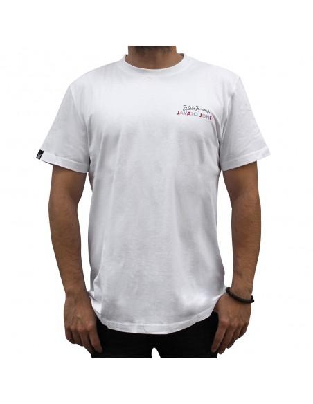 """Camiseta JAVATO JONES """"HÁGALE PUES"""" BLANCA"""