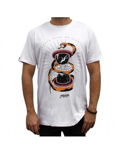 """Camiseta JAVATO JONES """"CUANTO DURA UN SIEMPRE"""" BLANCA"""