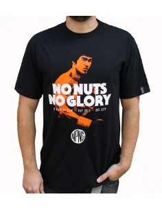 "Camiseta hombre NO PAIN NO GAIN ""NO NUTS NO GLORY"" en algodón color negro"