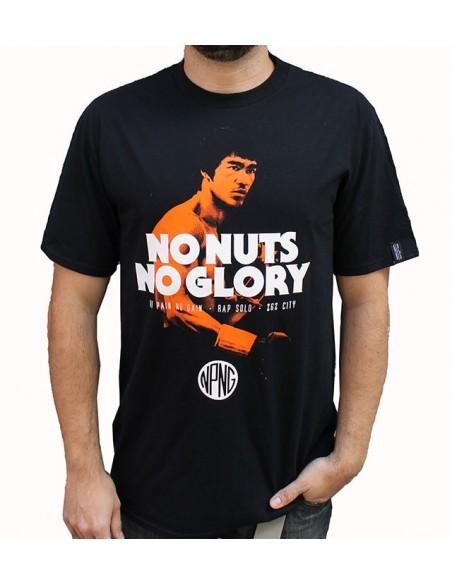 """Camiseta NO PAIN NO GAIN """"NO NUTS NO GLORY"""" NEGRA"""