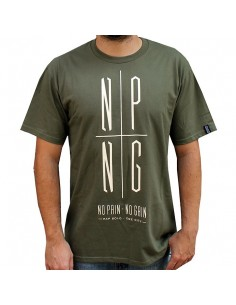 Camiseta NO PAIN NO GAIN LOGO NPNG MILITARY unisex, en algodón verde militar