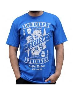 """Camiseta hombre NO PAIN NO GAIN """"BENDITA LOCURA"""" en algodón color azul"""