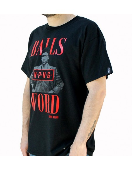 "Camiseta NO PAIN NO GAIN ""MY BALLS AND MY WORD"" NEGRA"