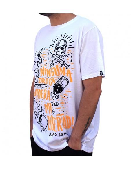 "Camiseta  JAVATO JONES ""NINGUNA DROGA JODERÁ MI LIBERTAD"""