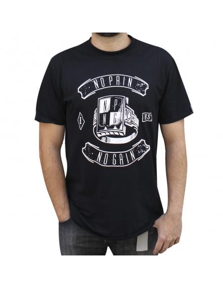 """Camiseta NO PAIN NO GAIN """"RING"""" unisex, en algodón color negro"""