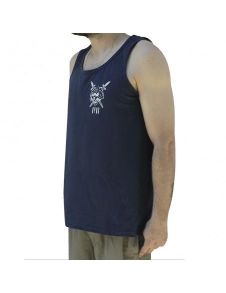 "Camiseta de tirantes unisex NO PAIN NO GAIN ""CURIOSITY KILLED THE CAT"" en algodón, color azul marino"