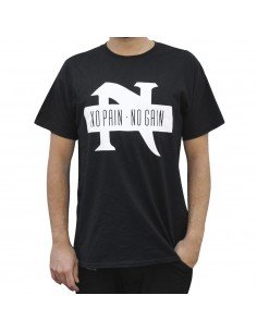 "Camiseta NO PAIN NO GAIN ""TAKE IT IN BLOOD"" unisex, en algodón color negro"